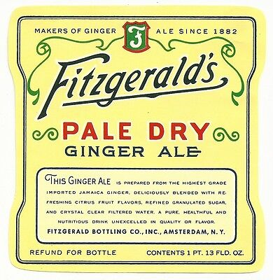 1950's Fitzgerald's Pale Dry Ginger Ale Label - Amsterdam, NY