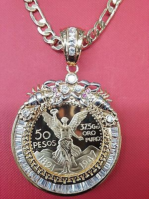 14K Gold Plated* 50 Pesos Centenario Coin CZ Holder Pendant  Scorpion