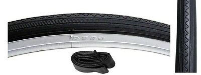 "Bicycle Tyre & Tube for Road Bikes, Black with White Wall Sides, 27"" x 1 1/4"""