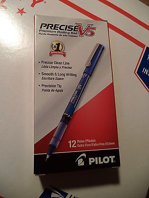 Pilot Precise V5 Needle Rollerball Pen, Extra Fine Point, Blue, Dozen, 35335 NIB