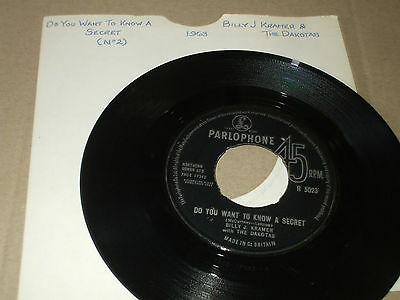 Billy J Kramer With The Dakotas Do You Want To Know A Secret  Vg 7 Inch Record