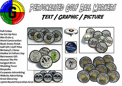 Personalised Golf Ball Markers - 23mm Round - Full Colour - Spike - Set Of 10