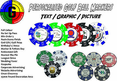 Personalised Golf Ballmarkers - Poker Chip - Resin Dome Finish - 25 Pack