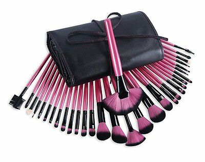 32 pzas. Cosmetics Professional MAKE-UP Brush Set Glamour pink incl. Case pink