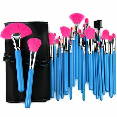32 pzas. Cosmetics Professional MAKE-UP Brush Set Glamour Pink incl. Case blue