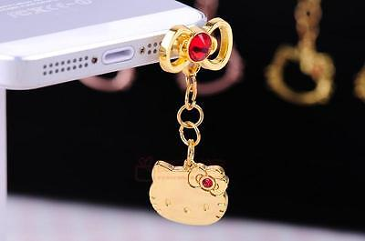 iDress Hello Kitty Swarovski Crystal Charm Dust Plug Earphone Jack Silver Gold