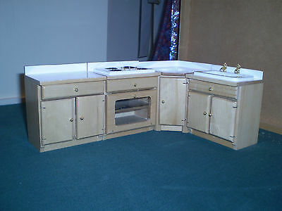 Dolls hoiuse Furniture, 1/12th scale 4 piece kitchen  set  in Pine colour