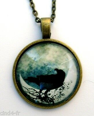 Medaillon vintage / collier style bronze Medallion chain necklace - Crow,corbeau