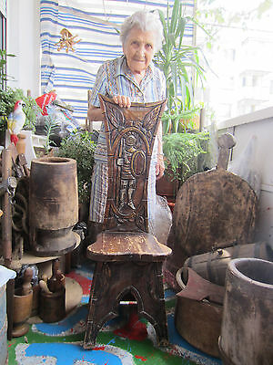 ۞  Unique ANTIQUE vintage wooden hand carved stool chair w/ knight, carving, ART