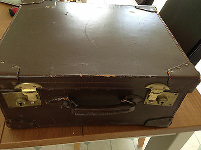 Lloyds Bank Ltd Vintage Large Brown Leather Trunk Case Container Brass Locks