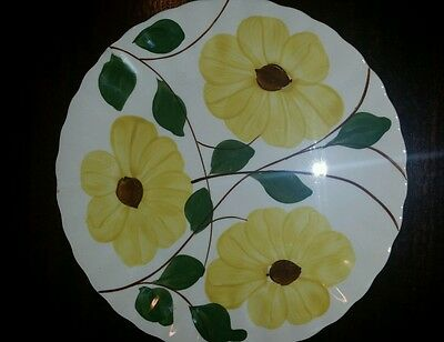 "Blue Ridge Southern Potteries Hand Painted Yellow Daisy 9.1/4"" Plate '9C' USA"