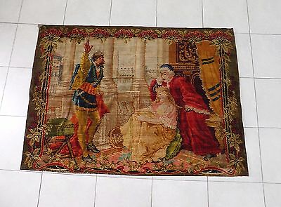 Antique Colourful Woolen Gobelin/Tapestry/Needlepoint