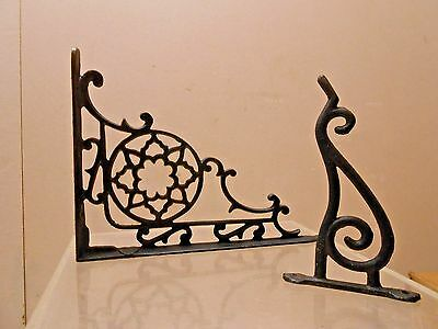 Vintage Cast Iron Wall Shelf Bracket + Cast Iron Flower Hanger