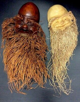 """Vintage Pair - Carved Bamboo Root Chinese Buddha Faces Masks 20"""" - Very Nice!"""