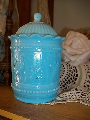 Vtg Westmoreland Crane Cat Tails Blue Opaque Glass Jar with Lid beaded edge