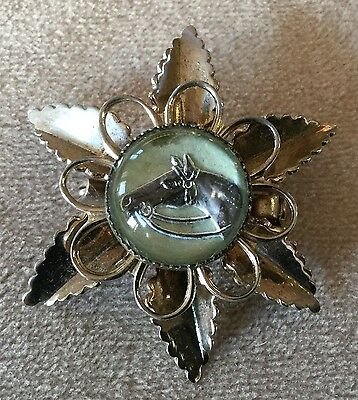 Horse Head in Crystal Costume Jewelry Gold Flower Shaped Pin