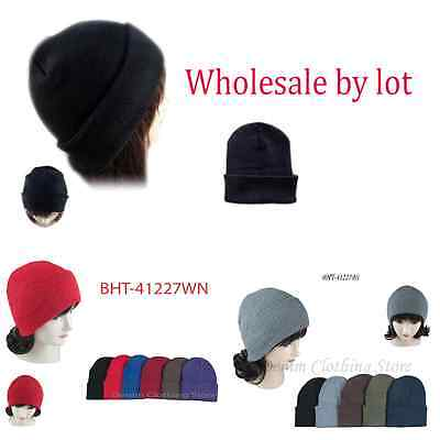 1~5 Dozen Beanie Knit Ski Cap Skull Hats Solid Plain Winter Cuff  Wholesale Lot