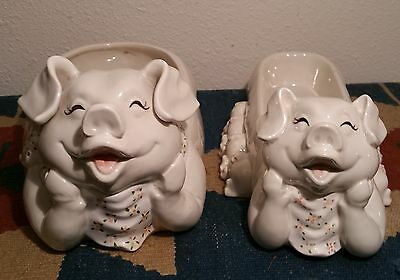 2 TWO fitz & floyd pig bowl cracker serving tray piglets vtg ceramic party candy