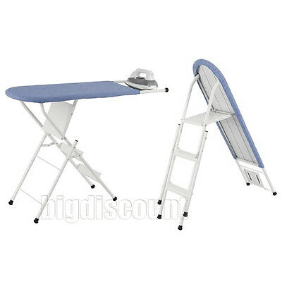 Ironing Board 3 Step Ladder Steps Foldable Folding Iron Board Steel Frame