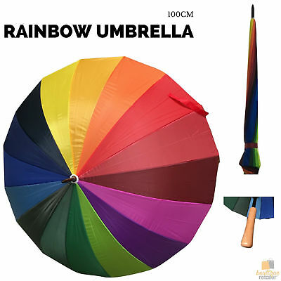 100cm Diameter RAINBOW UMBRELLA Rain Sun Colourful Parasol Long Shaft New
