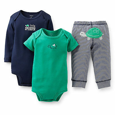 Carter's Baby Boy Girl 3Pc Little Speedster Bodysuits Pant Clothes Set Outfit Nb