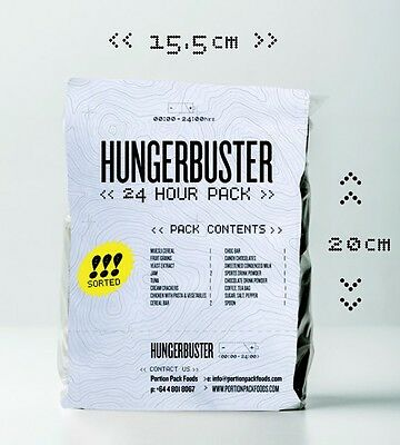 HUNGERBUSTER 24 Hour Ration Packs Meals Ready To Eat MRE X 6 STANDARD IN TUB