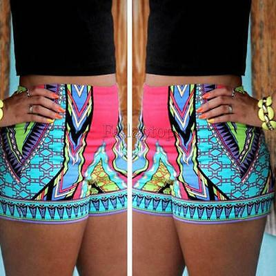 High Waist Stretch Printed Ethnic Tribal Shorts Short Hot Pants for Women