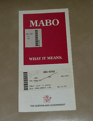 Vintage 1993 Native Title Queensland Government Leaflet MABO WHAT IT MEANS