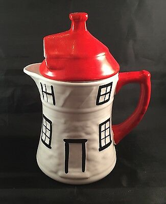 Unusual Retro Jug - White Cottage With Red Roof