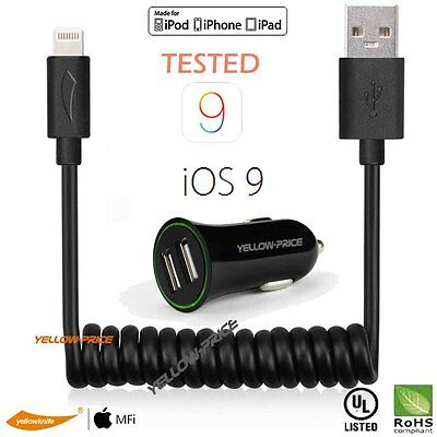 8PIN Connector Coiled Lightning Cable+Car Charger For Apple iPhone 5 6 iPod iPad