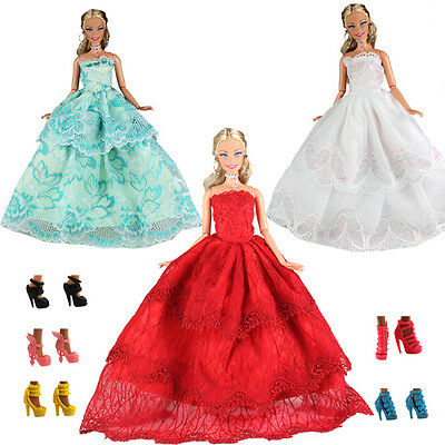 3 Fashion Evening  Party Grows Clothes Dresses +5 Shoes Set For Barbie Doll Gift