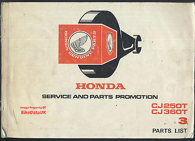 Genuine Honda CJ250T CJ360T (1976-1978) Parts List Catalogue Book CJ 250 360 T
