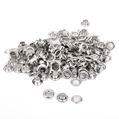 100 Set Silver Eyelet w/Washers Leather Craft DIY Repair Grommet Replacement