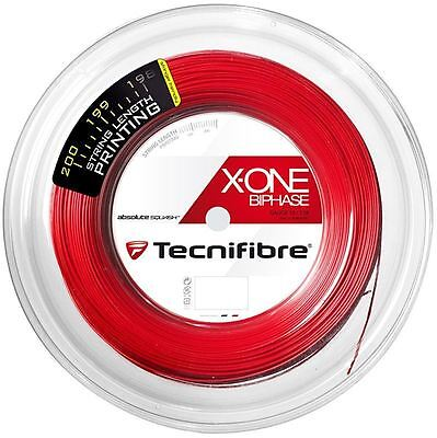 Tecnifibre X-ONE BIPHASE Squash String - 1.18mm - 200m Reel - Red - FREE UK P&P