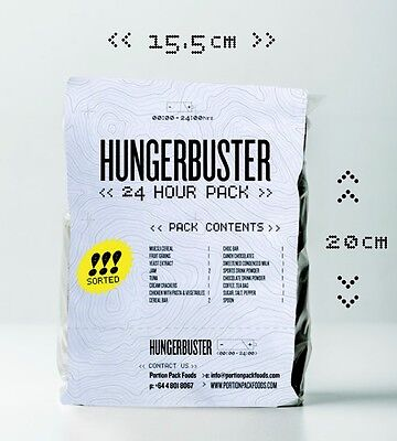 HUNGERBUSTER 24 Hour Ration Packs Meals Ready To Eat MRE X 12  STANDARD PACKAGE