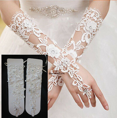 Light ivory beaded wedding gloves / bridal lace gloves floral appliques By pair