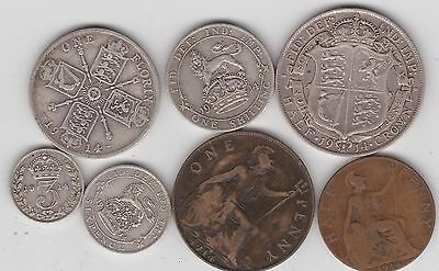 1914 George V Set Of 7 Coins In Good Fine Or Better Condition