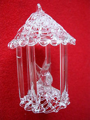 CRYSTAL BIRD in CAGE ORNAMENT MINATURE HAND BLOWN  Perfect