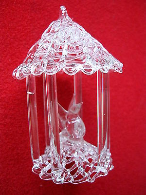 CRYSTAL BIRD in CAGE ORNAMENT MINATURE Perfect