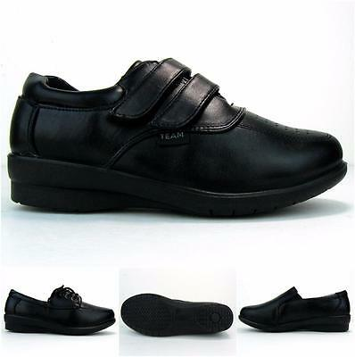 Women's Work Shoes Non Slip Resistant Walking Standing PU Leather Loafer Lace Up