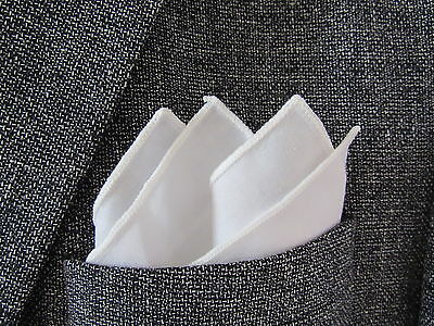 White fashionable Pocket Square/Handkerchief 100% cotton. see shop photos.