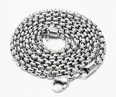 """30/""""x 3mm 26g//C61 STAINLESS STEEL ROUND BOX CHAIN BLACK NECKLACE"""