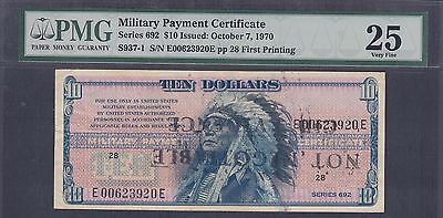 US Military Payment Certificates Series 692 Lot Of 8 - 5 Cents To 20 Dollars