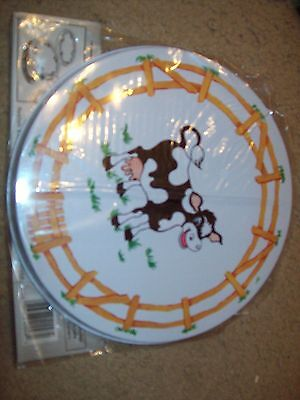"Set Of 4 Burner Covers Cows On Front With A Fence All Around 10"" Big 8"" Smaller"