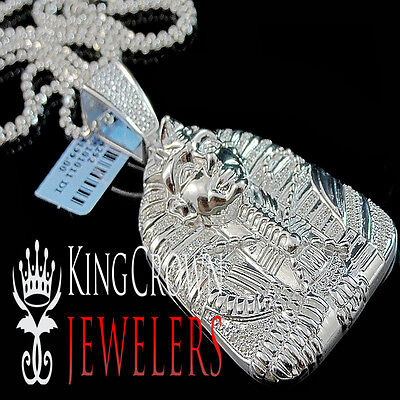 10k white gold finish charm real diamond egyptian pharaoh king tut 10k white gold finish charm real diamond egyptian pharaoh king tut pendant 40ct aloadofball Gallery
