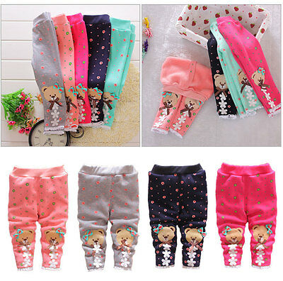 Cute Bear Print Kids Girls Baby Pants Toddler Stretch Warm Leggings Trousers