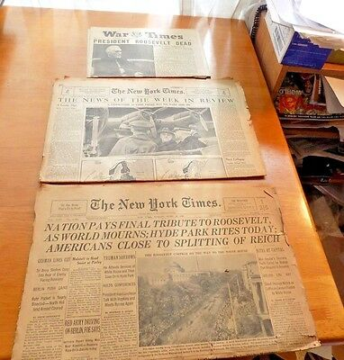 Lot of 3 newspapers Death of Franklin Roosevelt New York Times  War Times  1945