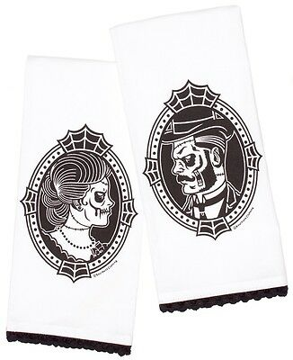 Sourpuss Zombie Cameo Tea Towel Set alternative goth punk rock metal home gift