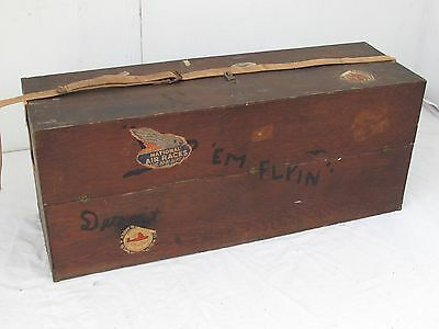 Vintage Large Wood Box for Model Airplanes with Flying Decals