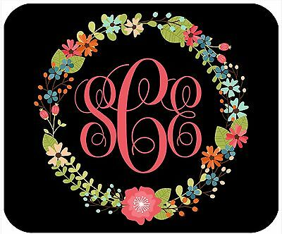 Mouse Pad Custom Personalized Thick Mousepad- Floral Wreath 2 With Monogram